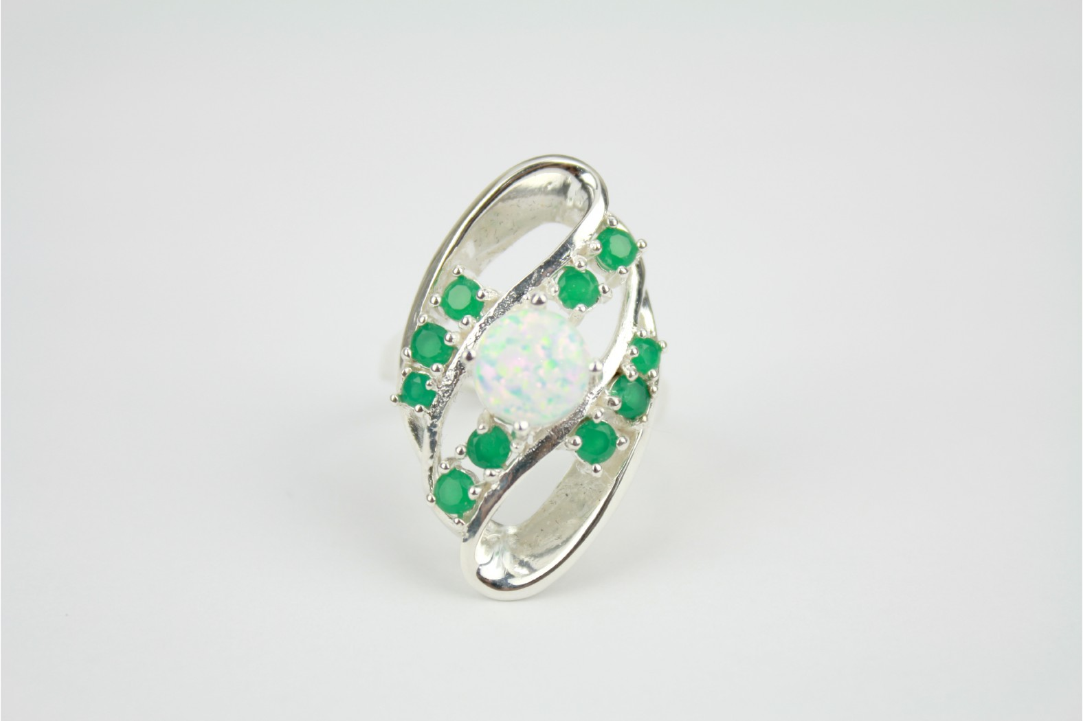 Contemporary Oval shape large white Opal fire enhanced with multi emerald stones size 9+ or S