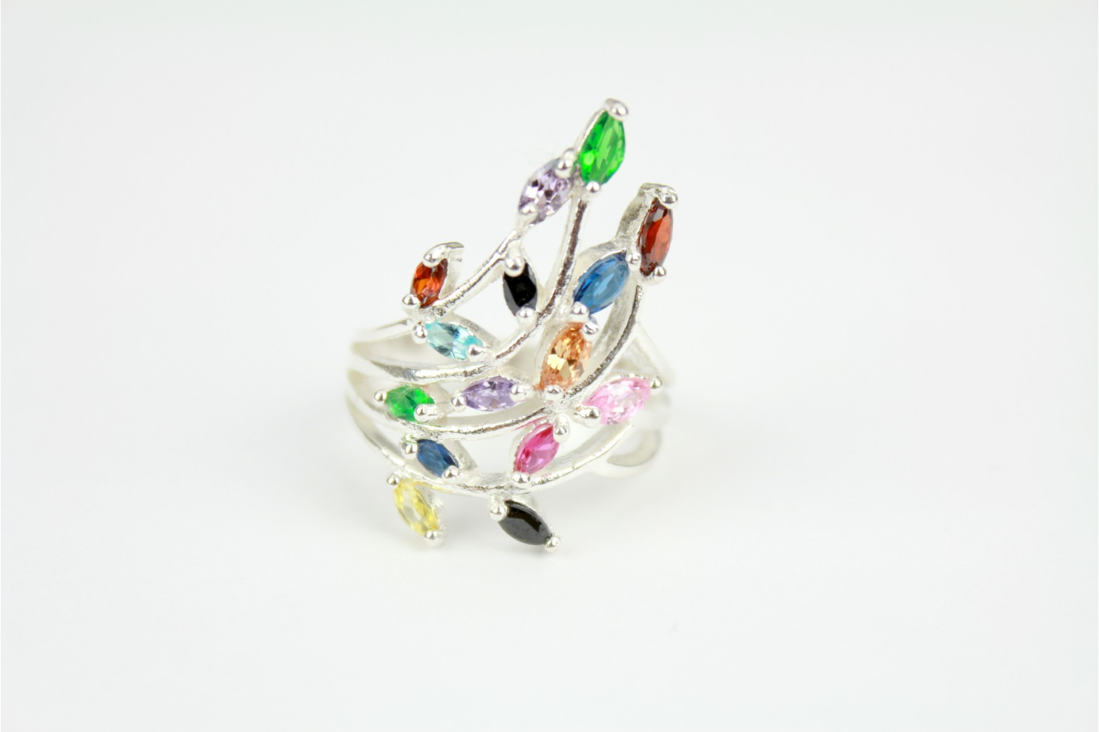 Beautiful Contemporary design of multi colour stones cascading onto silver setting   size 8 or P