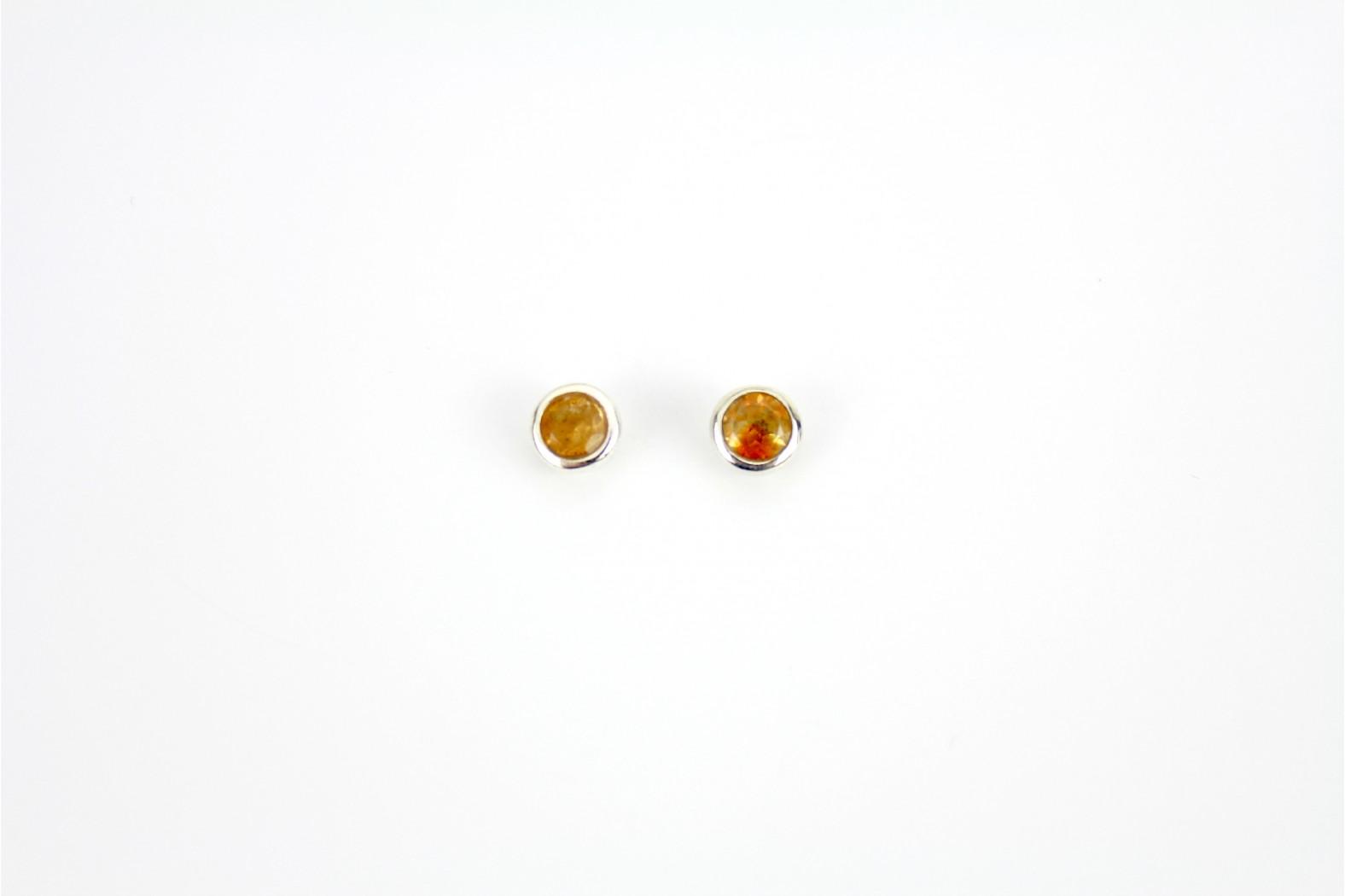 Circular Dark Citrine stud earrings set in circular silver mounting