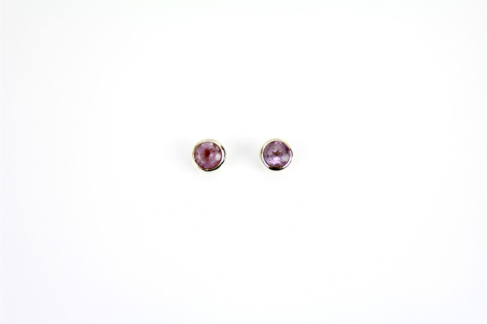 Circular Amethyst stud earrings set in circular silver mounting