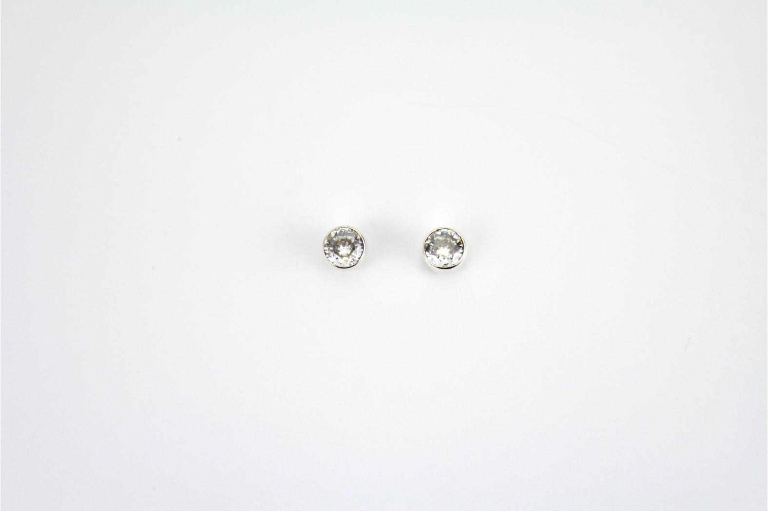 Circular Clear Crystal stud earrings set in circular silver mounting