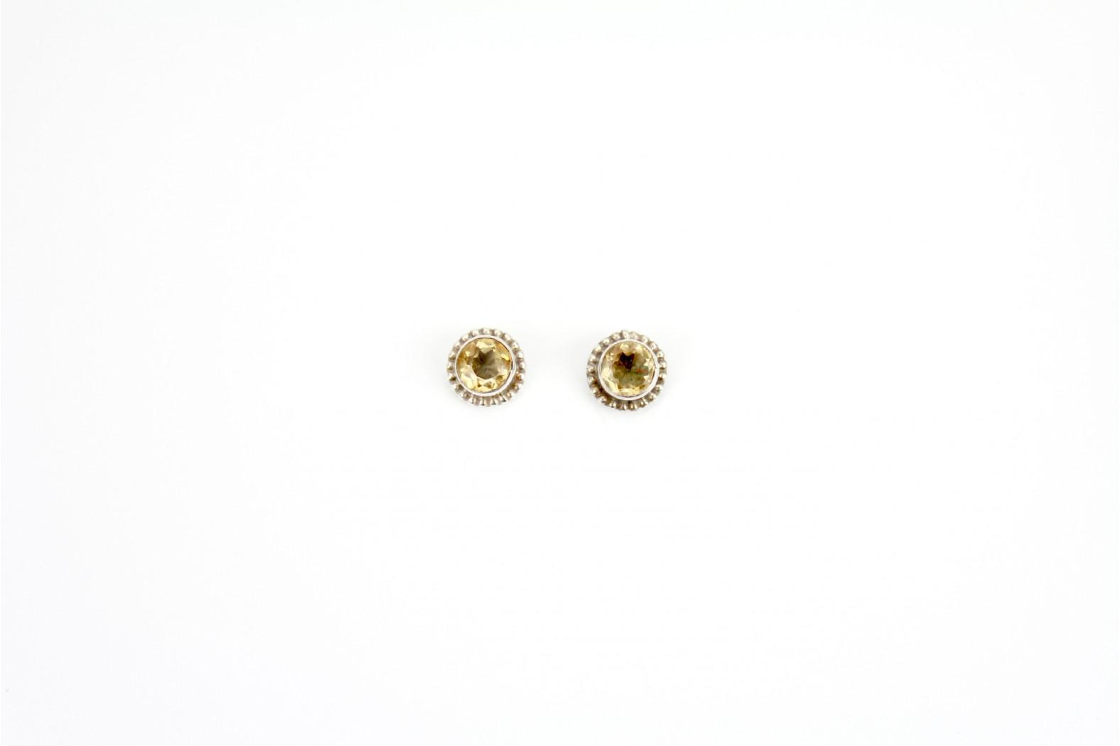 Circular Light Smokey Quartz stud earrings antique setting