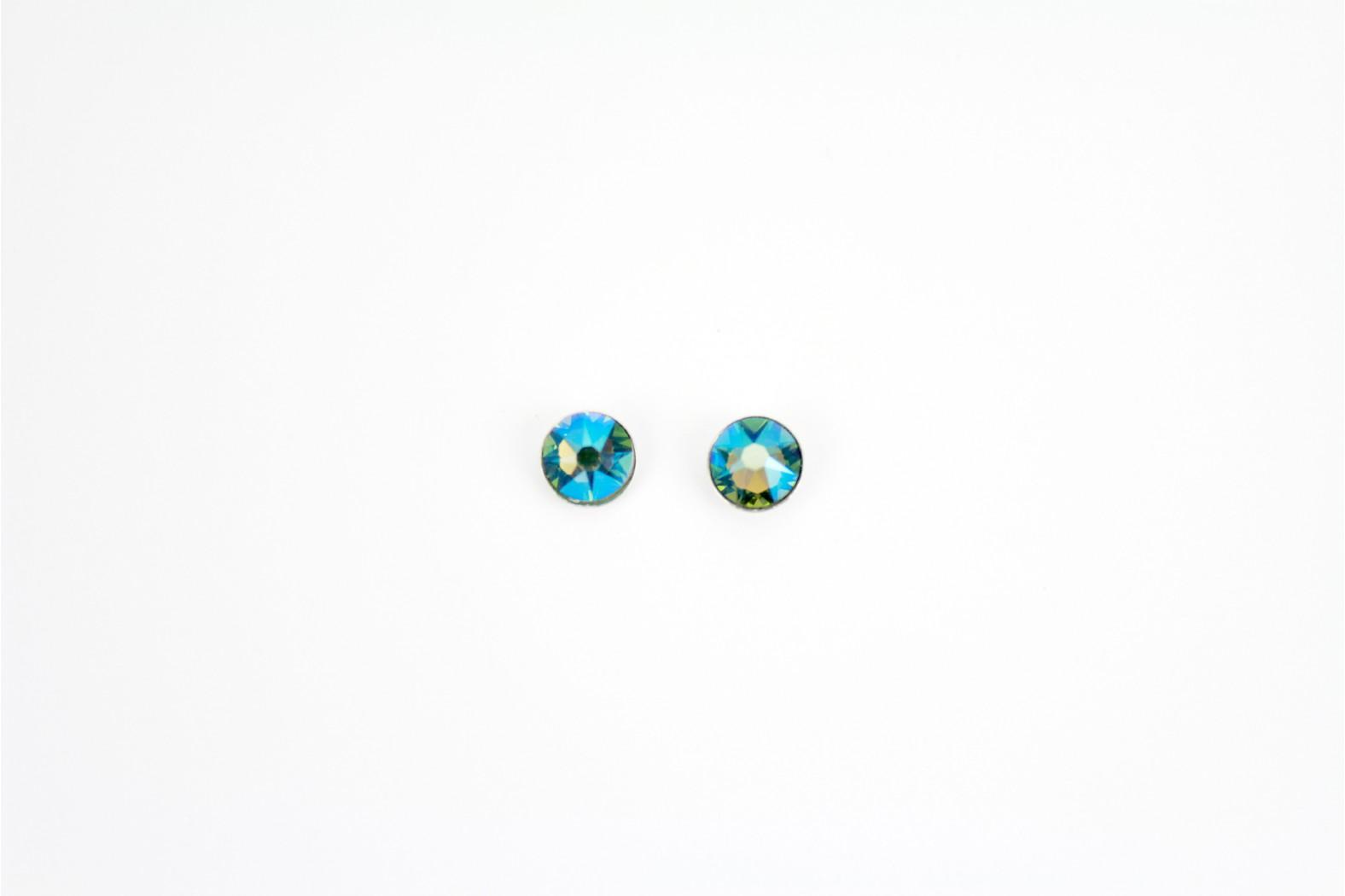 Verifiable Swarovski Crystal stud earrings. Erinite faceted shaped