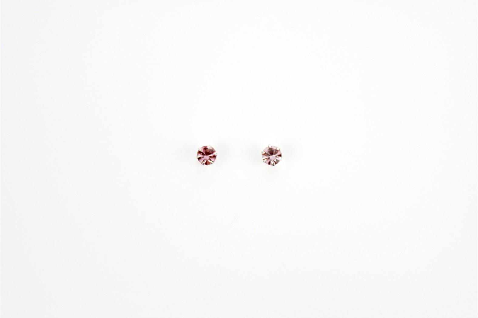 Austrian Crystal claw set stud earrings Light Purple medium