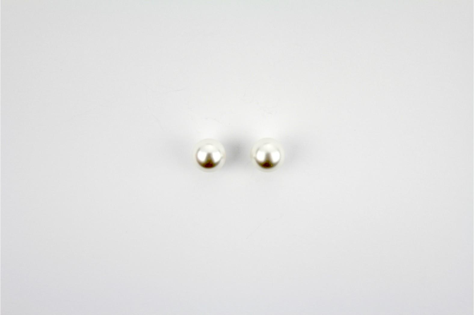 Circular silver colour large ball stud earrings