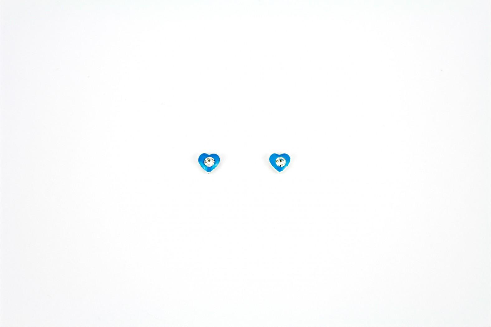 Heart Blue Enamel with Crystal inlay stud earrings
