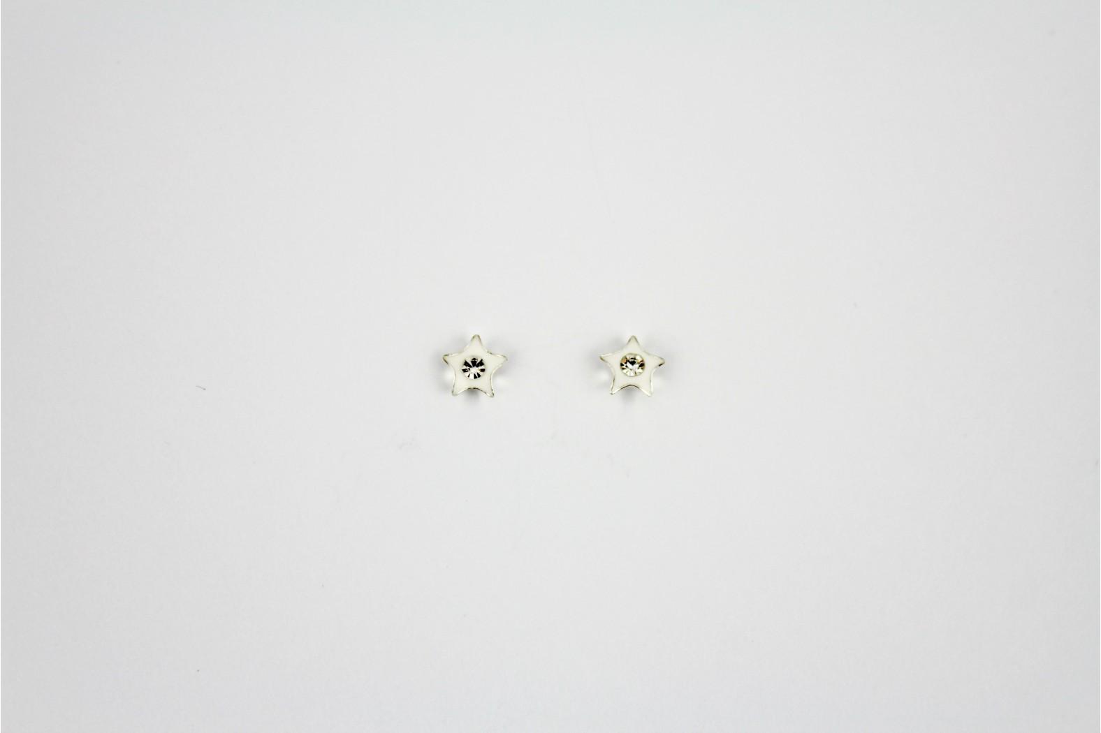 Star White Enamel with Crystal inlay stud earrings