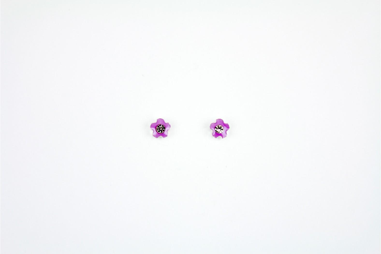 Daisy Purple Enamel with Crystal inlay stud earrings