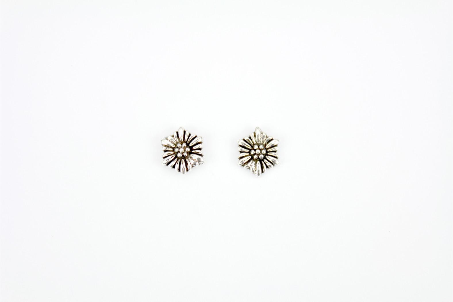 Large Flower Design silver stud earrings