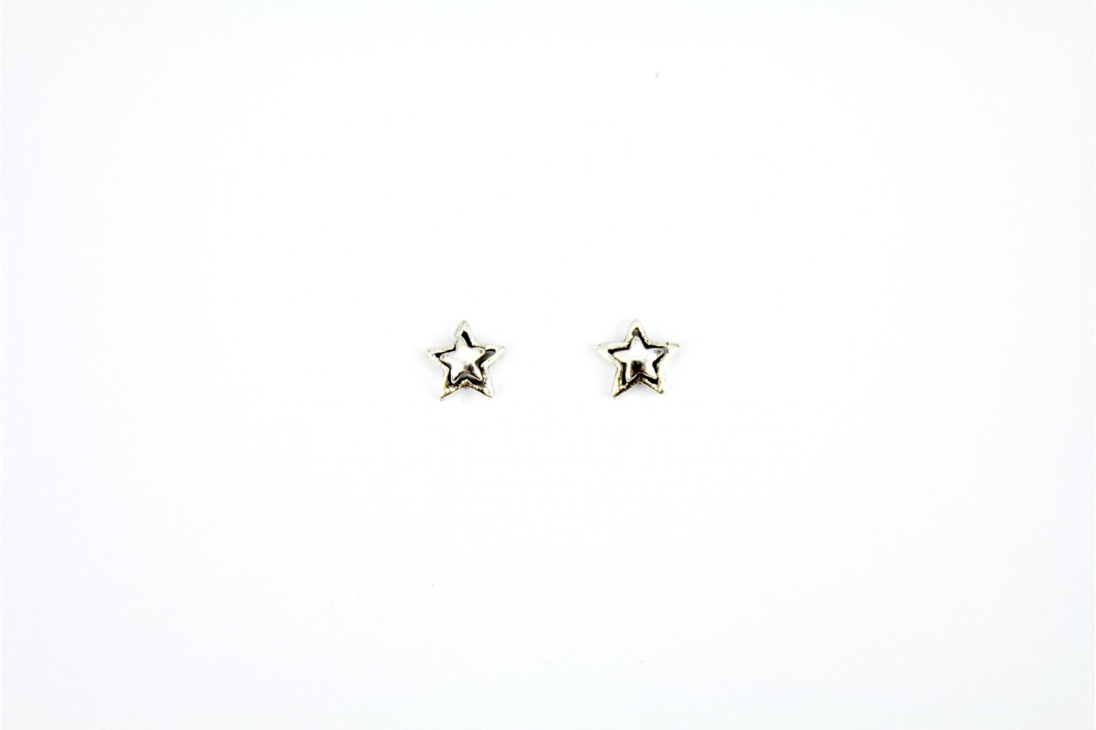 Star Mounted on Star silver stud earrings