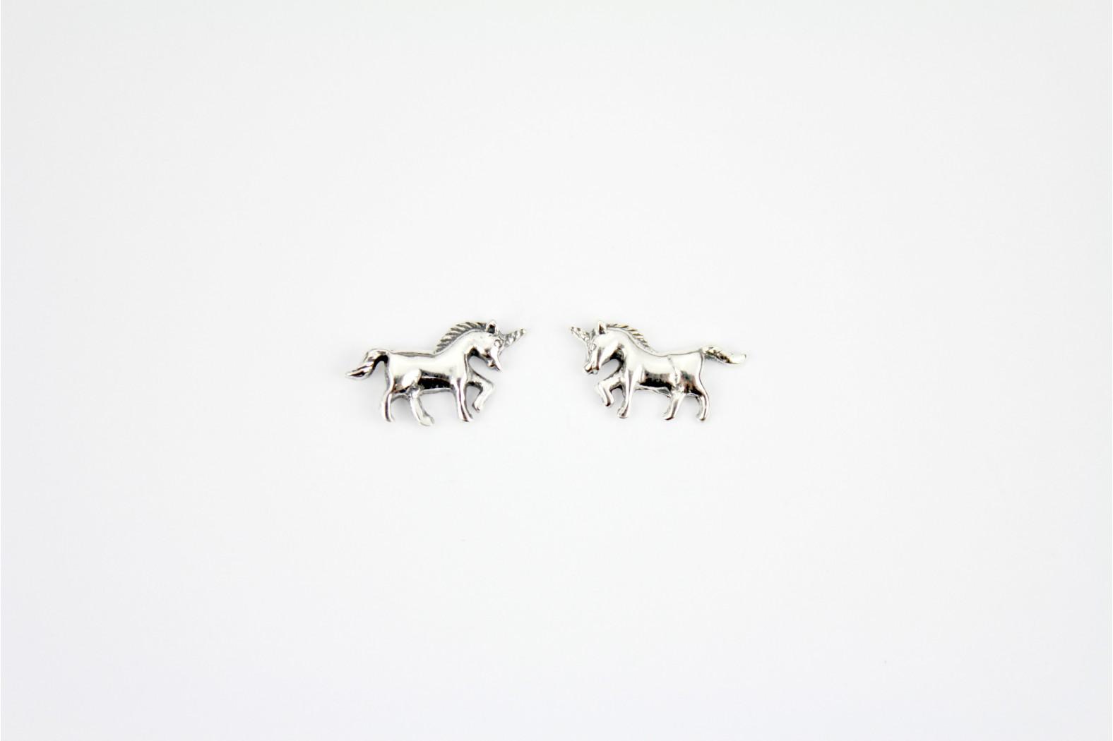 Beautiful Unicorn silver stud earrings