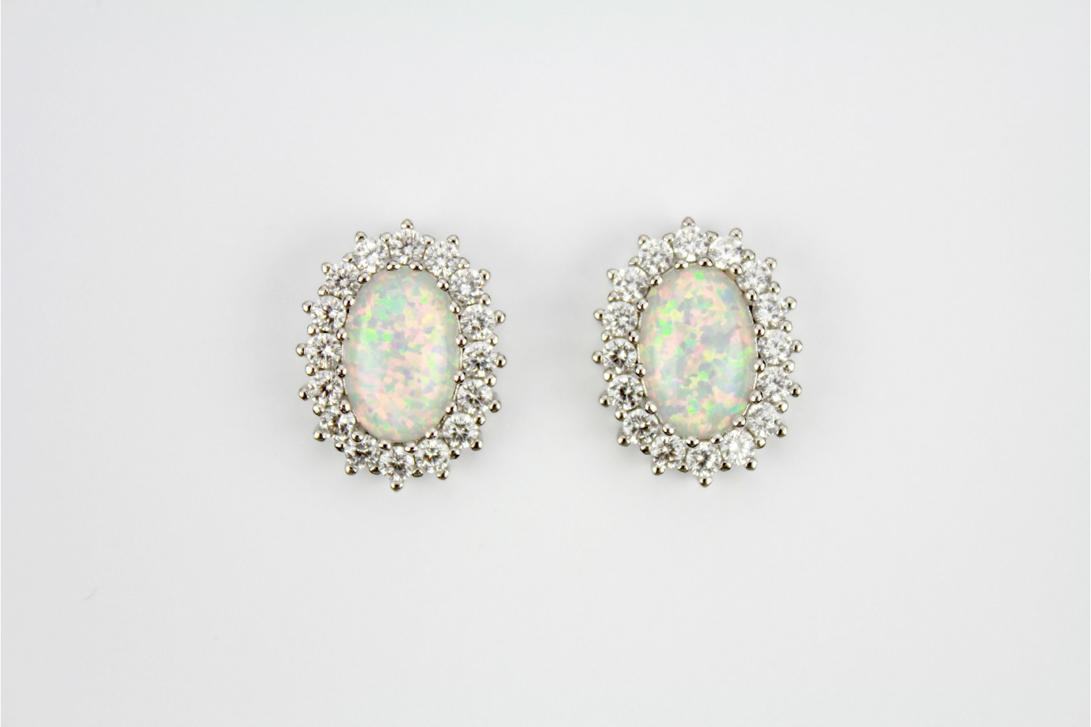 Stunning Large Created White Opal Fire stud earrings with CZ. Embellishments