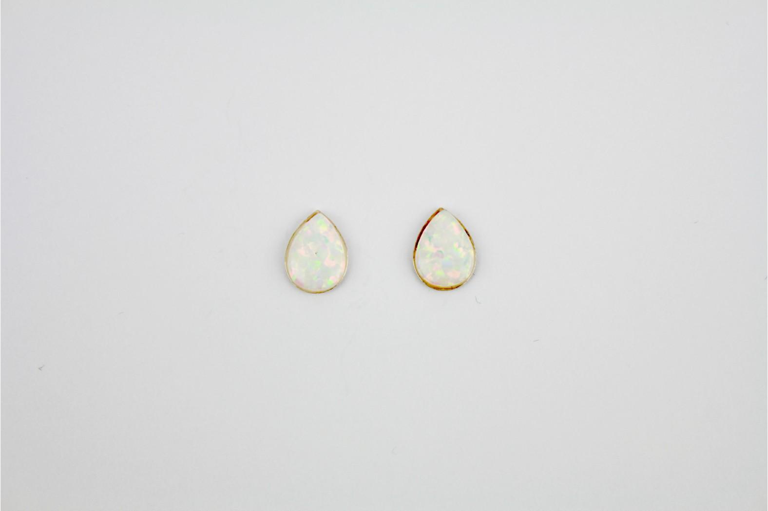 White Opal Fire teardrop shaped created stud earrings