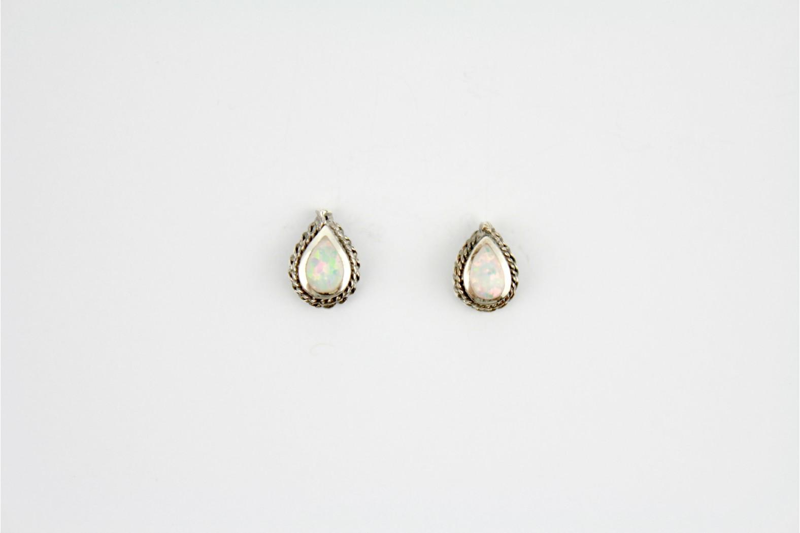 White Opal Fire created tear drop shaped stud earrings silver edge