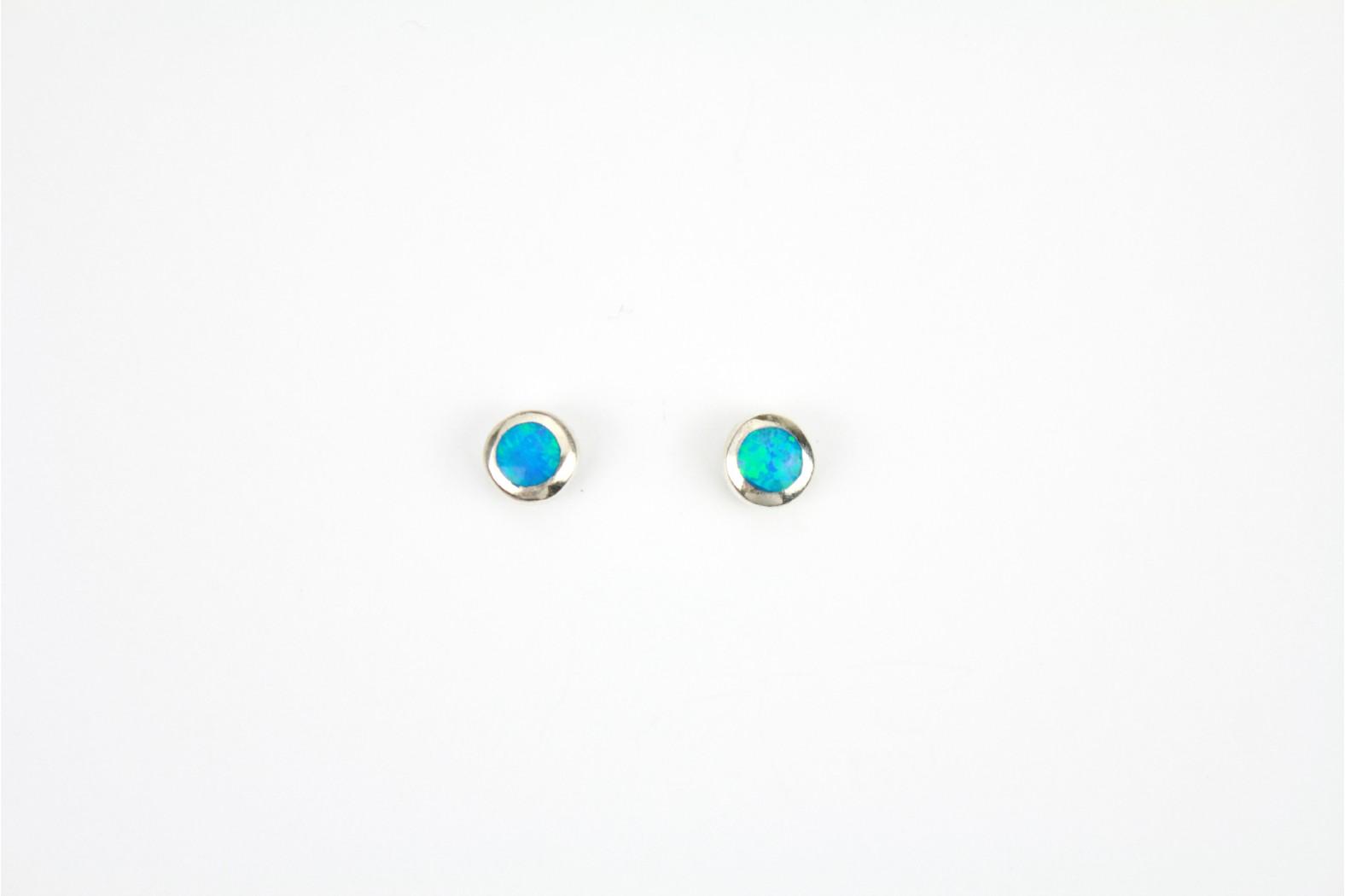 Blue Opal Fire  circular silver edge created stud earrings medium