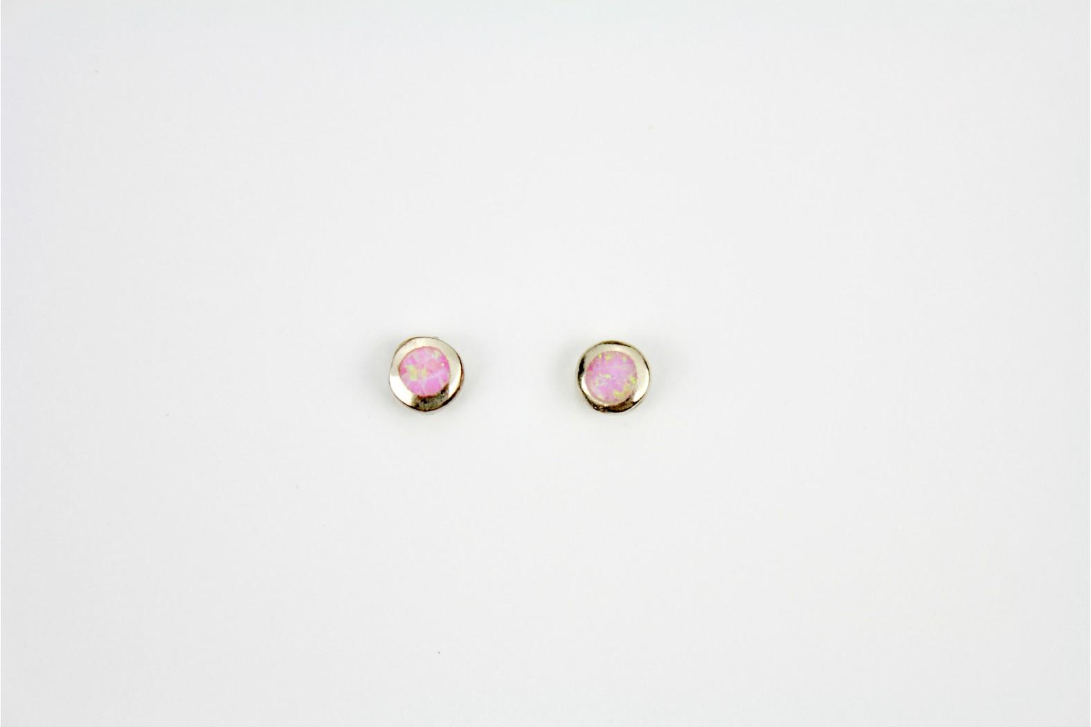 Pink Opal Fire circular silver edge created stud earrings medium