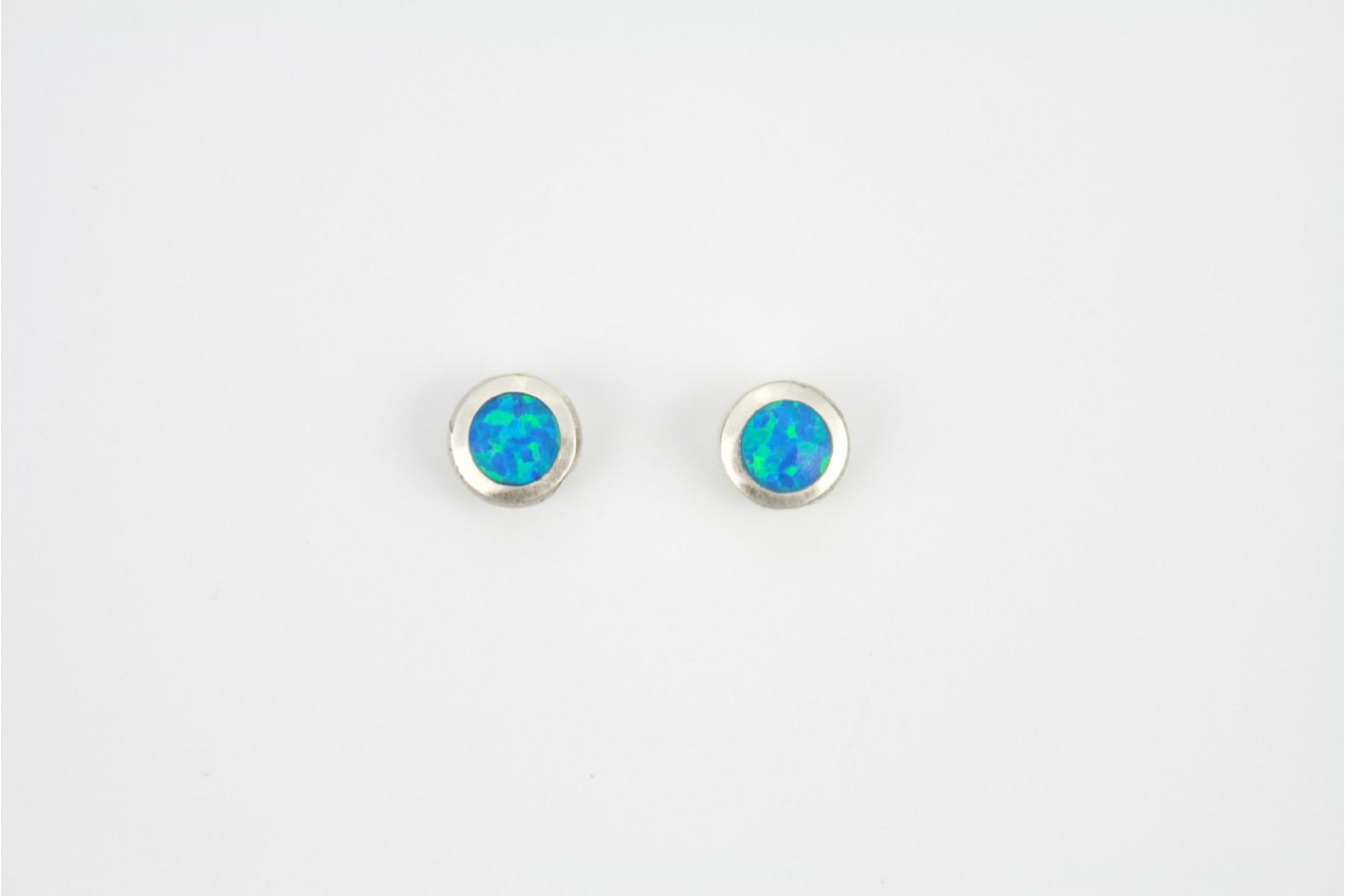 Blue Opal Fire circular silver edge created stud earrings large