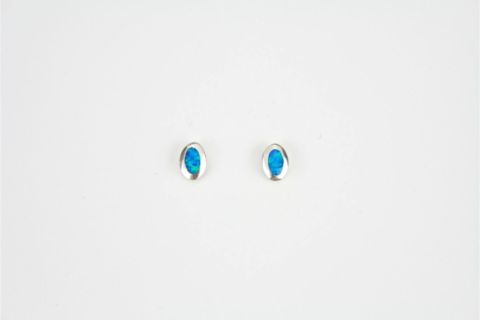 Blue Opal Fire oval silver edge created stud earrings