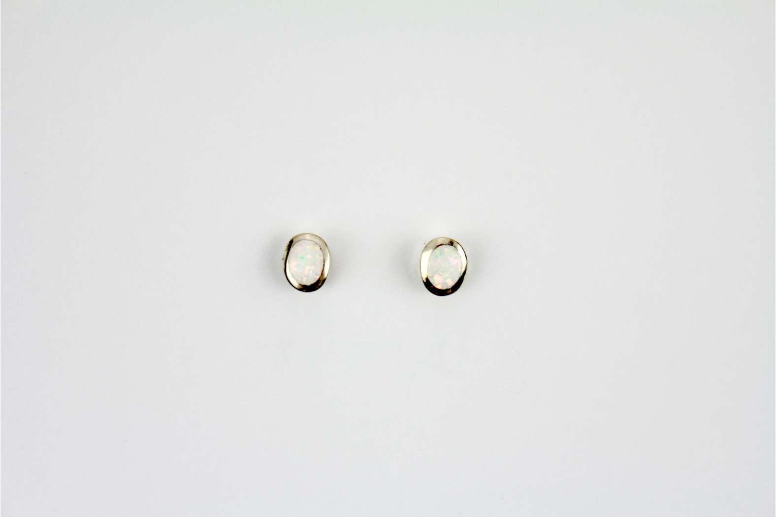 White Opal Fire oval silver edge created stud earrings