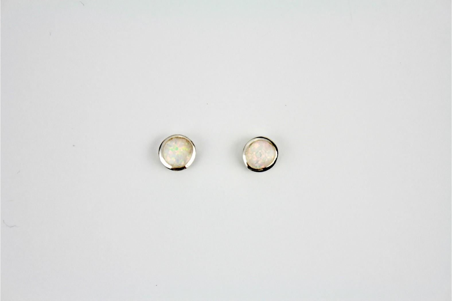 White Opal Fire circular silver edge created stud earrings