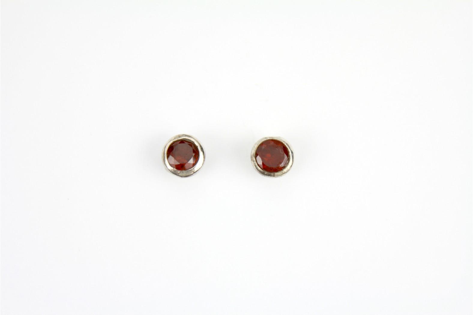 Garnet Large Circular stud earrings silver edge