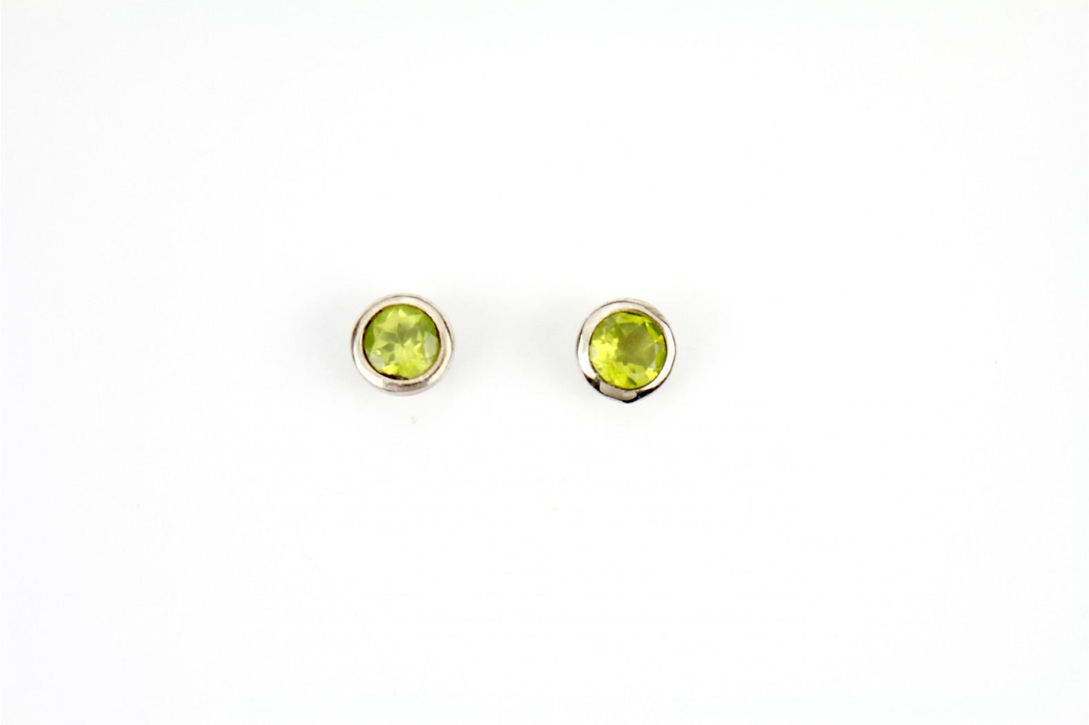 Peridot Large Circular stud earrings silver edge