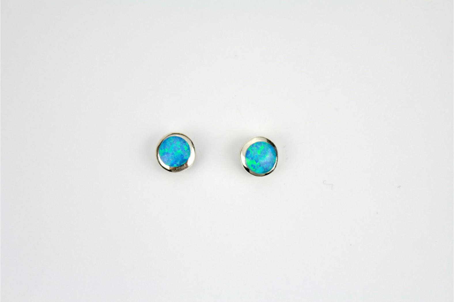 Blue Opal Fire created stud earrings silver edge