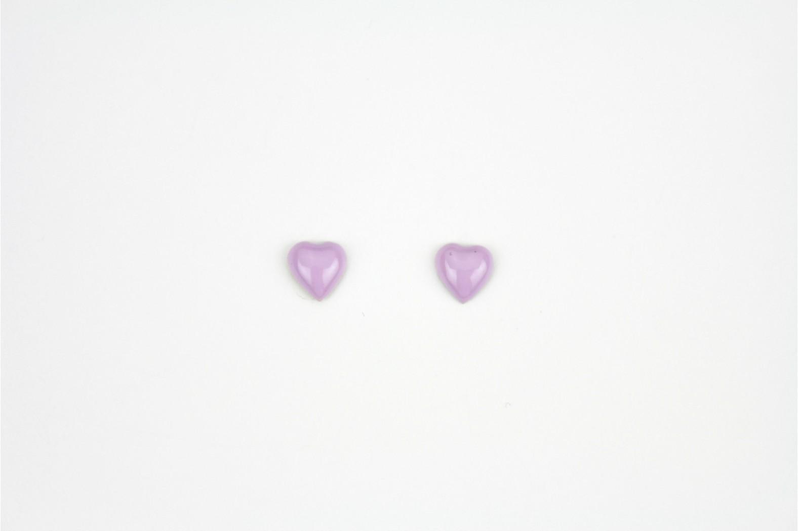 Purple Heart shaped enamel design stud earrings