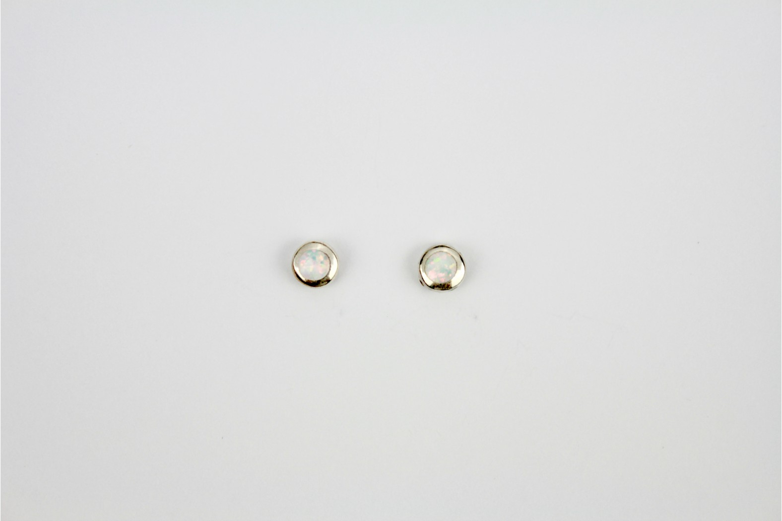 White Opal Fire circular stud earrings medium
